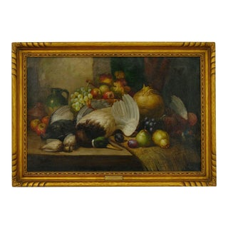 Still Life Antique Oil Painting of Fruit & Game by William Duffield (British, 1816-1863), Signed For Sale