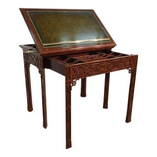 Chinese Chippendale Maitland Smith Telescoping Leathertop Console Table For Sale