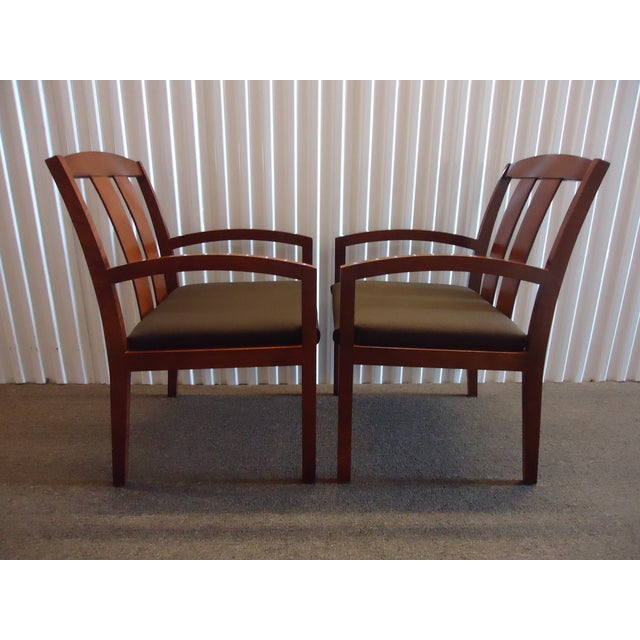 1990s Kimball Dining Arm Chairs With Brown Fabric - Set of 4 For Sale - Image 5 of 13