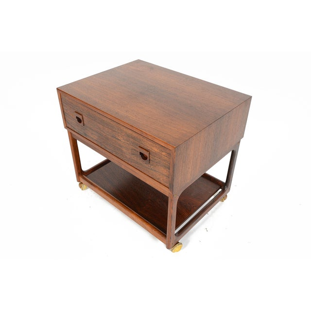 Danish Modern Rosewood Rolling Cart - Image 4 of 11