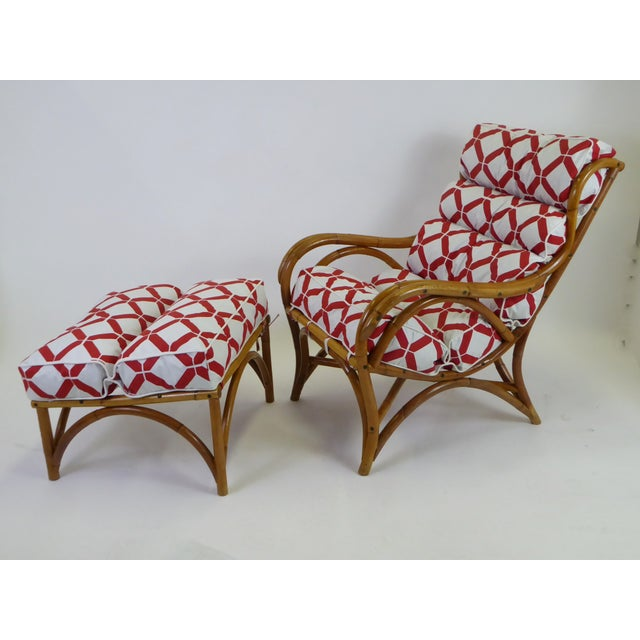 Asian 1940s Tropical Modern Rattan Lounge Chair and Ottoman For Sale - Image 3 of 13
