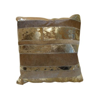 Glam Gold Cowhide Pillow For Sale