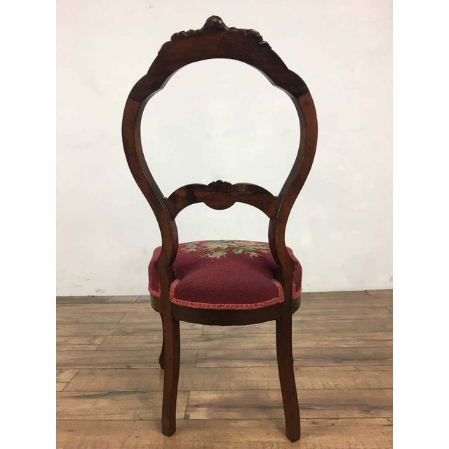 Victorian Style Vintage Carved Wood Side Chair For Sale - Image 4 of 8