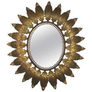 1950s Vintage Gilt Metal Oval Sunburst Mirror For Sale