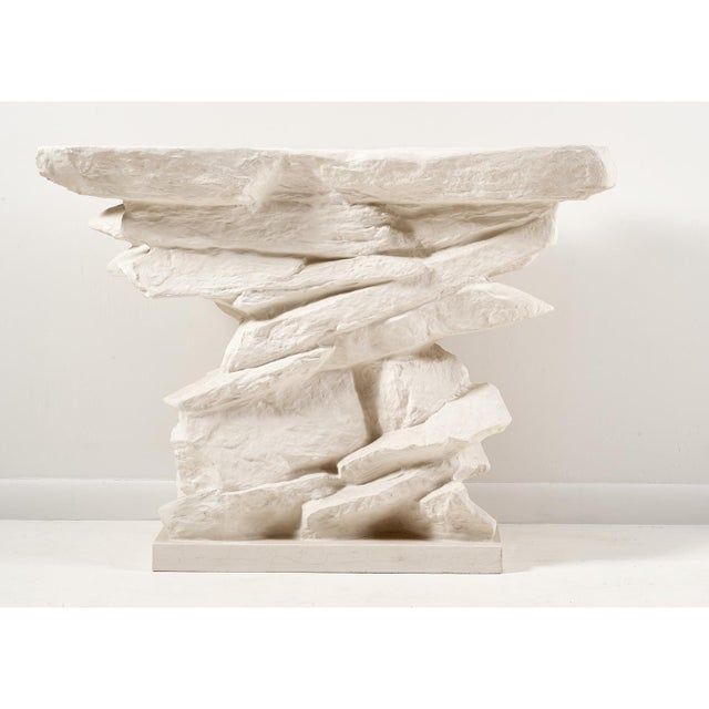 A faux bois influenced stacked ledge rock quarry console table. Inspired by French designers Serge Roche and Emilio Terry....