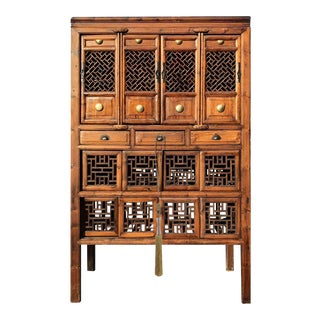 Asian Carved Elm Wood Cabinet