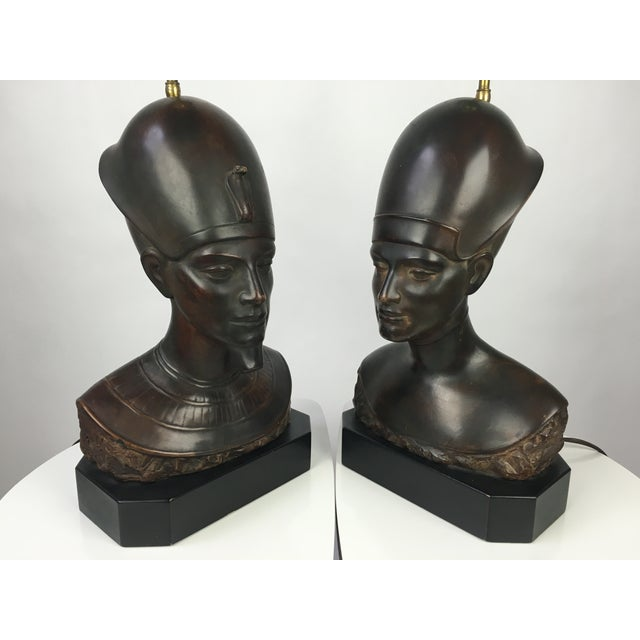 1940s Haruil Bronzed Egyptian Pharaoh Table Lamps - Pair For Sale - Image 5 of 9