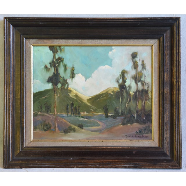 "Vintage California abstract plein air landscape oil painting on artist canvas panel by David Wilson titled ""San Dimas.""...."