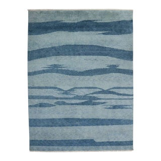 Contemporary Coastal Beach Style Moroccan Style Rug - 09'06 X 12'09 For Sale