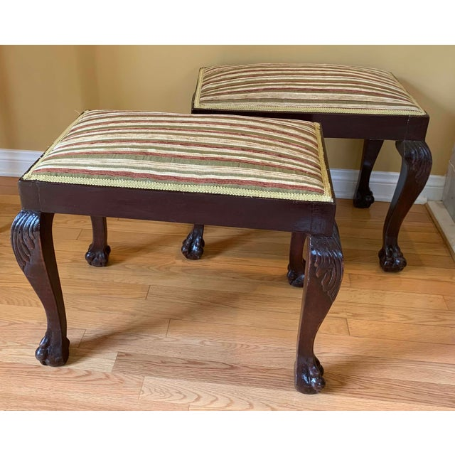 Mid 19th Century 19th Century Vintage George III Style Stools- A Pair For Sale - Image 5 of 5