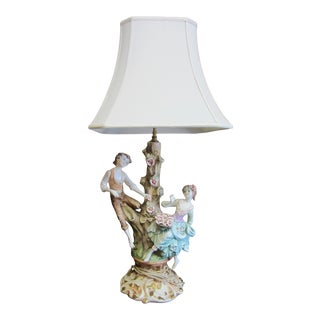 1960s Capodimonte Style Ceramic Porcelain Table Lamp, Made in Italy For Sale