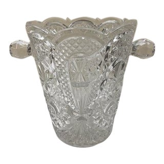 Vintage Large Bohemia Lead Crystal Ice Bucket For Sale