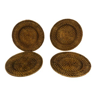 Rattan Woven Chargers - Set of 4 For Sale