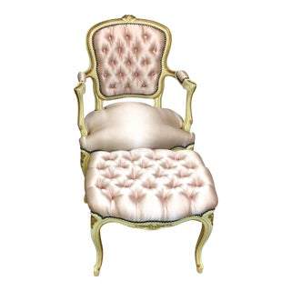 French Antique Pink Tufted Silk Chair & Ottoman - a Pair For Sale