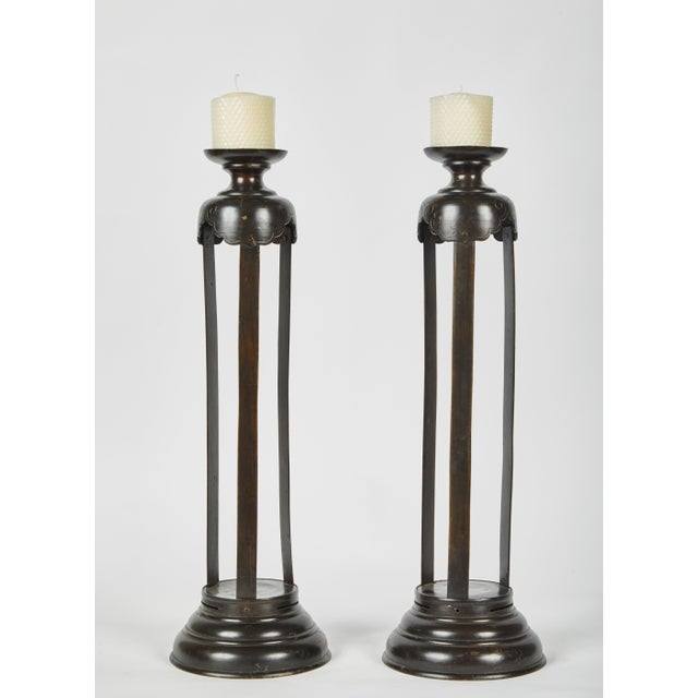 Metal 1860's Japanese Edo Bronze Candlesticks - a Pair For Sale - Image 7 of 7