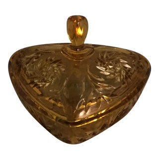 Amber Lidded Candy Dish For Sale