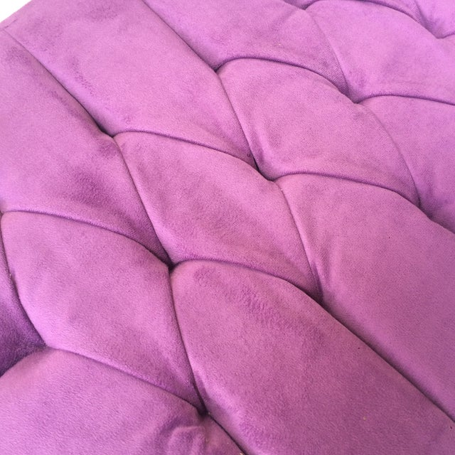 Shabby Chic Purple Tufted Ottoman - Image 7 of 8