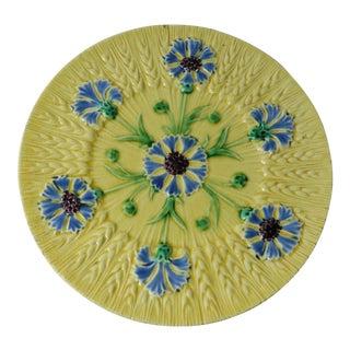 19th Majolica Cornflower Plate Sarreguemines For Sale