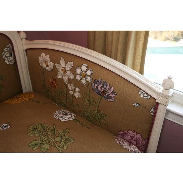 2000 - 2009 Modern Ornately Wood Carved Custom Botanical Print Upholstery Day Bed For Sale - Image 5 of 12