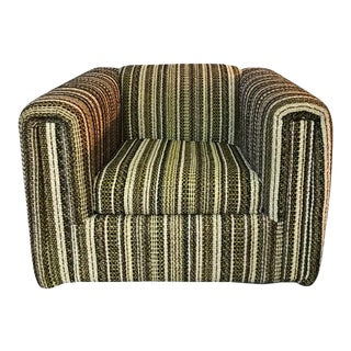 Vintage Wool Striped Club Lounge Arm Chair