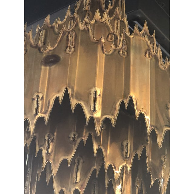 Gold Vintage Tom Greene for Feldman Brutalist Torch Cut Brass 7 Tier Chandelier For Sale - Image 8 of 11