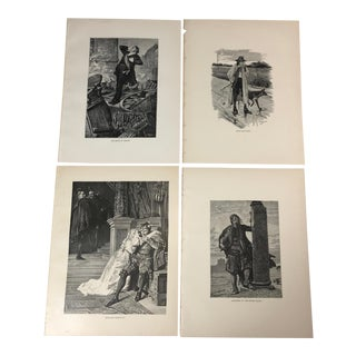 1892 Antique Characters From Works by Victor Hugo Prints - Set of 4 For Sale