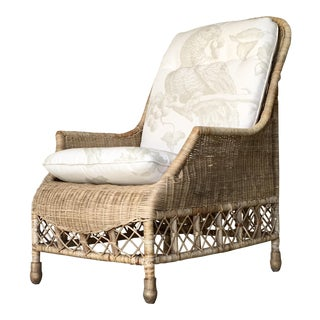 Antique Boho Chic Wicker Lounge Chair