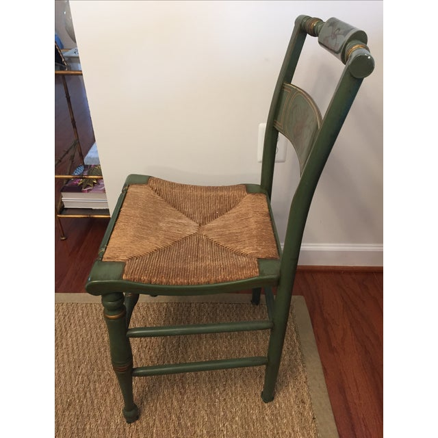 Hitchcock Style Painted Rush Seat Chairs- Set of 4 For Sale - Image 4 of 7