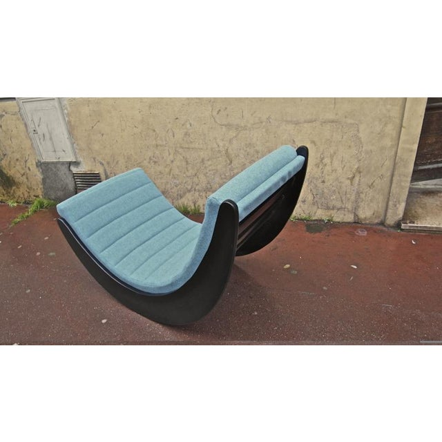 1950s Verner Panton Rarest Pair of Black Rocking Chairs Newly Covered in Kvadrat Cloth For Sale - Image 5 of 7