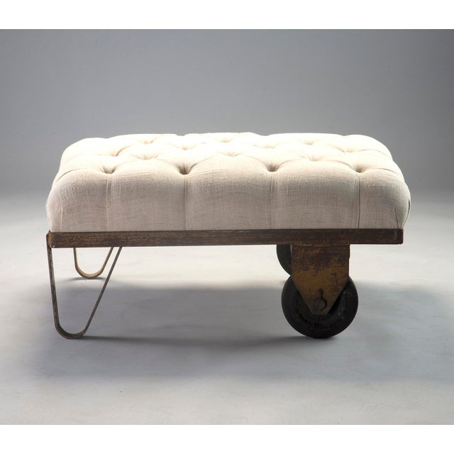 1930s Tufted Ottoman Bench Stool with Industrial Wheelbarrow Base For Sale - Image 4 of 13
