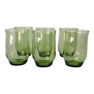 Midcentury Avocado Green Juice Glasses S/6 For Sale