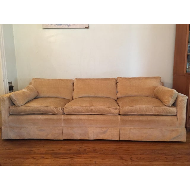 Classic mid-century clean-lined sofa in this gorgeous fabric made of 80% hog hair and 20% horse mane hair. The cushions...