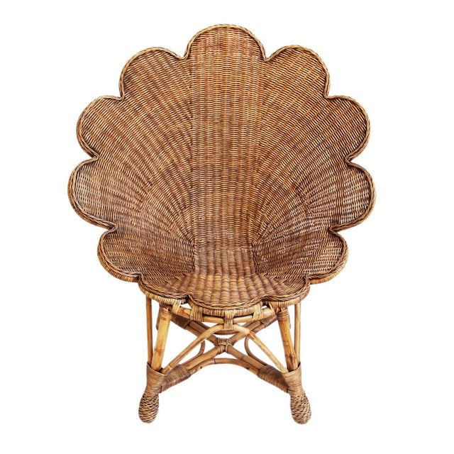 Rattan Antiqued Shell Chair For Sale - Image 4 of 4