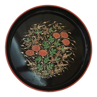 Mid-Century Modern Black Floral Tray For Sale