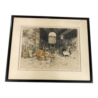Early 20th Century City Scene Etching by TF Simon, Framed For Sale