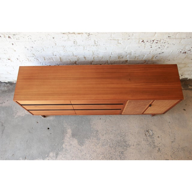 Brown Kipp Stewart for Calvin Mid-Century Modern Walnut and Cane Dresser or Credenza For Sale - Image 8 of 13