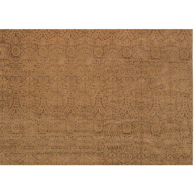 Contemporary Hand Woven Gold Silk & Wool Rug - 12' X 18' - Image 2 of 4