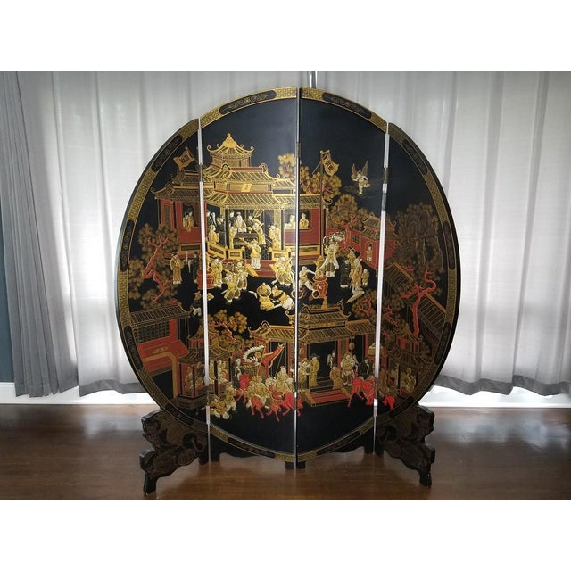 Large Vintage Black and Gold Round Asian Screen or Room Divider For Sale In Chicago - Image 6 of 8