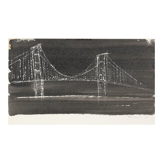 Ink and Scratch Technique of a City Bridge For Sale