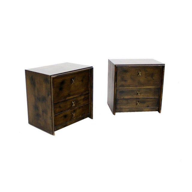Brown Pair of Paul Frankl Mid Century Modern Night Stands Brass X Pulls For Sale - Image 8 of 8