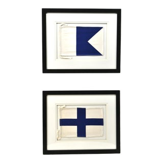 "Framed Signal Flags Letters ""A"" & ""X"" - a Pair For Sale"