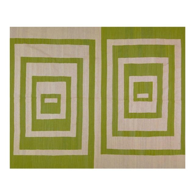 Green Maimana Afghan Kilim - 7′10″ × 9′7″ - Image 1 of 6
