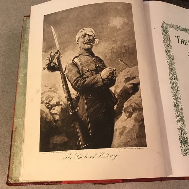 """Red Antique Red Leather """"The Great War"""" Books - Set of 6 For Sale - Image 8 of 11"""