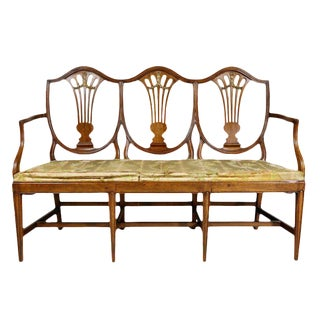 Continental Hepplewhite Fruitwood Chairback Settee For Sale