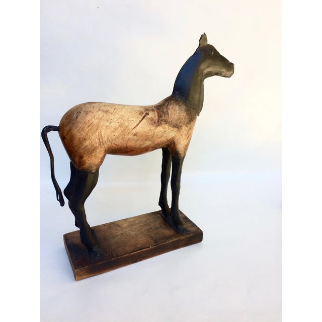 Vintage Wood and Metal Horse Sculpture - Image 3 of 6
