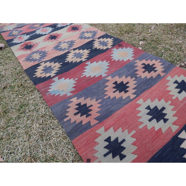 "1970s Vintage Muted Orange Turkish Kilim Runner Rug 2'6"" X 9'4"" For Sale - Image 5 of 13"