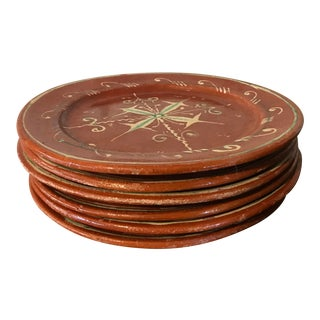 1970s Vintage Mexican Rustic Terra Cotta Dinner Plates - Set of 6 For Sale