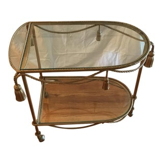 Vintage Gold Bar Cart For Sale