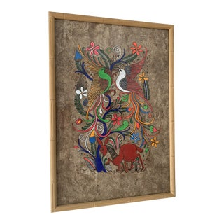 Mexican Folk Art Painting on Amate Bark Paper, Framed For Sale