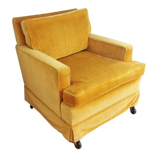 Vintage Crushed Yellow Velvet Club Chair